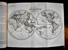 """1838 Original Geographie,Plan de """" MAPPE-MONDE """" Par J.B.POIRSON - Passepartout"""