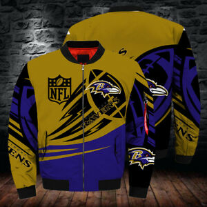 Baltimore Ravens Pilot Bomber Jacket Flying Tigers Windbreaker Thick Warm Coat