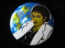 Michael Jackson-UK Prism Foil-Thriller-Blue-Pin-Badge-Button-80's Vintage-Rare