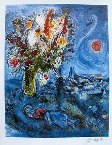 "MARC CHAGALL ""LA DORMEUSE AUX FLEURS"" Facsimile Signed & Numbered Lithograph Art"