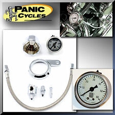 "SIFTON 1.5"" ROCKER OIL PRESSURE GAUGE KIT 0-60PSI HARLEY 1984-99 EVO EVOLUTION"