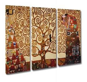 🌳 Klimt L'ALBERO DELLA VITA Quadro Stampa su Tela Canvas 3 pezzi cm 105x70 🎨