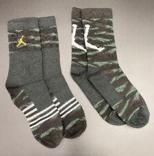 Boys Nike Air Jordan Crew Socks 2 Pairs SHOE SIZE 3y - 5y Camouflage Jumpman