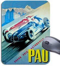 Pau Car Race Vintage 1950 Poster Mouse Mat. Motor Racing High Quality Mouse Pad