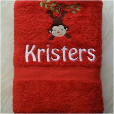 Personalised Towel, Kids Red Monkey Swim/Bath Towel, Embroidered Bath Towel
