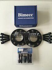 2 x 12mm Black Alloy Wheel Spacers Black Bolts Locks - BMW E60 E61 E62 E63