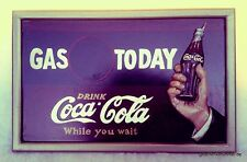 Advertising Wall Sign Gas Today Wood Cola Shop Equipment Advertisement