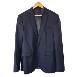 Gianni Versace Men's Wool Blend Navy Blue Suit Jacket Size US 48
