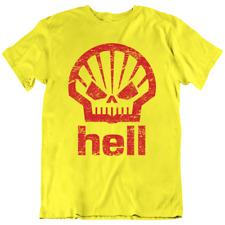 Hell Gasoline T-shirt Racing Hot Rod Petrol Station Devil Company Logo Symbol