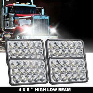 4pcs 4x6'' LED Headlight For Kenworth T800 Freightliner FLD120 Peterbilt 379 378