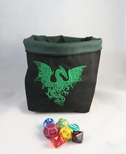 Dragon Black and Green Square Dice Bag Reversible Drawstring Tile Pouch RPG D&D