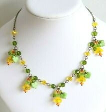 Daffodil Bell Flower Beaded Necklace- Vintage Czech Art Deco Style