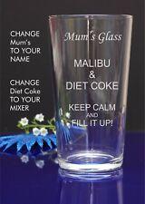 Personalised Engraved Pint mixer spirit MALIBU AND DIET COKE glass Christmas 57