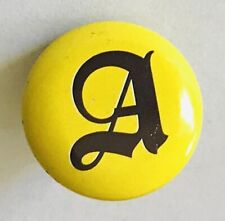 Letter A Gothic Print Novelty Name Pin Badge Rare Vintage (C5)