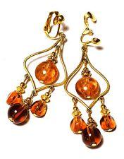 Long Chandelier Clip-On Earrings Gold Amber Goldsand Glass Bead Drop Dangle