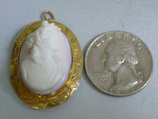 Victorian 10k Carved Angel Coral Cameo Pendant / Brooch