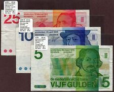 """Netherlands """"1966-72 Issue"""" 5,10&25 Gulden {TRIPLE} VF/VF+ Notes: P95a,P91b&P92b"""