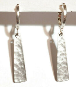 Hammered Silver Bar & Sterling Silver Plated Leverback Earrings ~* Sundance Arti