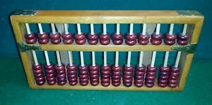 13 Column Wooden Bead Arithmetic Abacus with brass corners