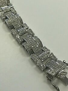 "MEN'S FANCY LINK 925 STERLING SILVER CZ STONES BRACELET 8 3/4"" / 16mm / 58 Grams"