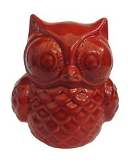 RED CERAMIC SITTING OWL. 15CM