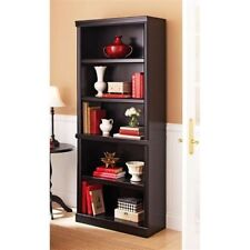 black 5 shelf cherry bookcase wooden book case storage shelves wood bookshelf