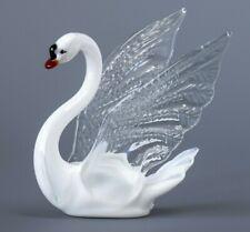 Swan Blown Glass Ornament, Russian Art, Home Decor White Bird Figurine
