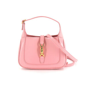 GUCCI Jackie 1961 Mini Hobo Bag 2way Hand Shoulder Bag Leather Pink 90138488