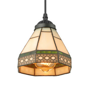 Vintage Stained Glass Pendant Lamp Kitchen Island LED Ceiling Lighting Fixture