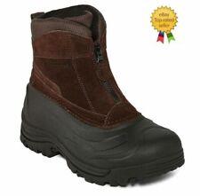 Mens Weatherproof Tahoe III Brown Leather Zip Up Thinsulate Snow Boots