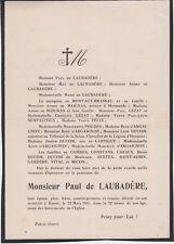1931 Faire-part décès Paul de LAUBADÈRE - Eauze (Gers).