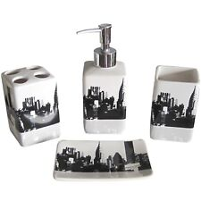 Ceramic Bath Accessory Set 4 Pieces Bathroom Accessories Black White NYC  Style
