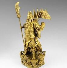 """Chinese bronze brass Nine Dragon Warrior Guan Gong/ Yu Statue Figure10""""H Yellow"""