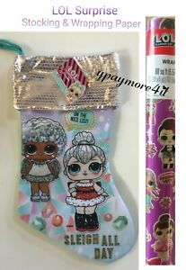 LOL SURPRISE DOLLS CHRISTMAS GIFT WRAPPING PAPER + LOL CHRISTMAS STOCKING PURPLE