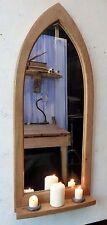 Gothic Arch Hardwood Wooden Oak Wall Mirror & Shelf 94 cm long Hand Made