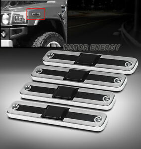 03-09 HUMMER H2 SIDE MARKER SIGNAL LIGHT LENS COVERS CHROME/SMOKE SPORT 4PCS SET
