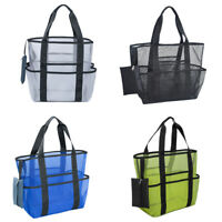 Portable Mesh Beach Bag with Pockets Foldable Toy Tote Bag Beach Toy Bag