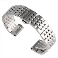 20mm 22mm 24mm Silver Stainless Steel Watch Band Wrist Men Strap Replacement