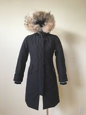NEW CANADA GOOSE GIRLS FUR FRIMMED BLACK BRITTANIA PARKA COAT M 100% AUTHENTIC