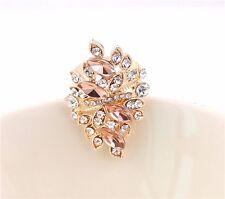 New Fashion Elegant Charm Crystal Nice Pink Resin Topaz Gold Ring Size #6-10
