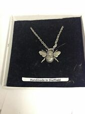"""Bee PP-A34 Emblem Silver Platinum Plated Necklace 18"""""""