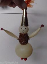 VERY UNUSUAL Old Glass Christmas JOINTED SNOWMAN - 10""