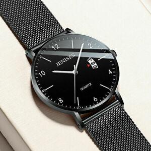 Luxury Mens Analog Date Slim Mesh Stainless Steel Dress Wrist Watch Waterproof