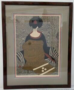 Kiyoshi Saito 1960 Maiko Kyoto E Japanese Woodblock Print Ukiyo-e Signed Stamped