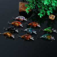 HOT 9pcs Plastic Small Fishing Lures Bass CrankBait Crank Bait Tackle 4.5cm/4g