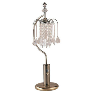 """27"""" Tall Metal Table Lamp with Antique Brass finish, Crystal Chandelier Design"""