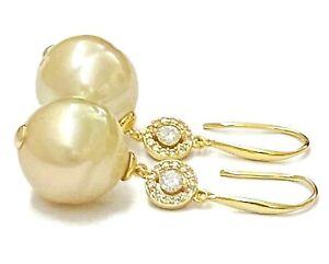 Gorgeous 13 x 13.2mm Natural Gold Oval Australia South Sea Pearl Dangle Earrings