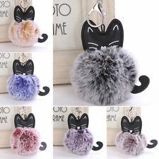 Faux Fur Fluffy Pompom Cat Keychain Keyring Pendant Handbag Car Key Decor Cute