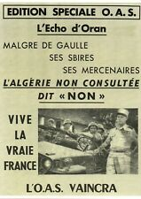 Guerre d'Algérie - Photo de la Une - Edition spéciale OAS de l'Echo d'Oran