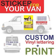 van car vehicle custom vinyl decal lettering stickers business signs + PRINT